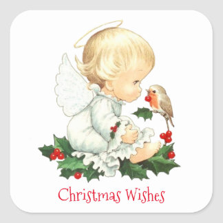 Christmas Angel and Robin Christmas Wishes Square Sticker