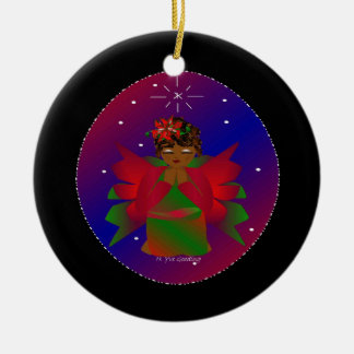 Christmas Angel Baby Around the World In Black Ornament