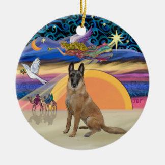 Christmas Angel - Belgian Malinois Ceramic Ornament