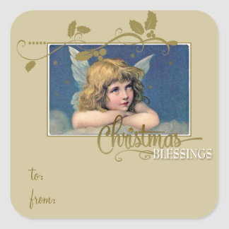 Christmas Angel Blessings Gift Tag to/from Square Sticker