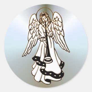 Christmas Angel Brass Trumpet Classic Round Sticker