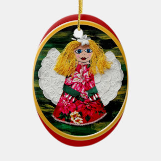 Christmas Angel Ceramic Oval Decoration
