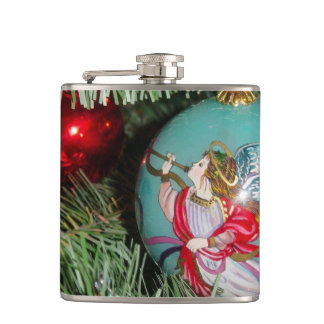 Christmas angel - christmas art -angel decorations hip flask