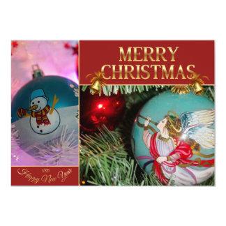 Christmas angel - christmas art - Snowman Card