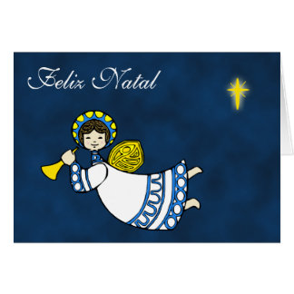 Christmas Angel Greetings in Portuguese Language Card
