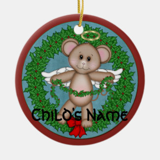 Christmas Angel Mouse Ceramic Ornament