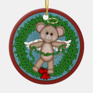 Christmas Angel Mouse Round Ceramic Decoration