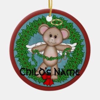 Christmas Angel Mouse Round Ceramic Decoration