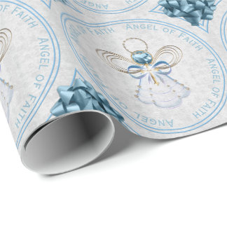 Christmas Angel of Faith Blue and Gold Filigree Wrapping Paper