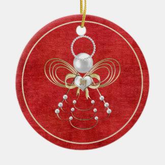Christmas Angel of Joy - Red Round Ceramic Decoration