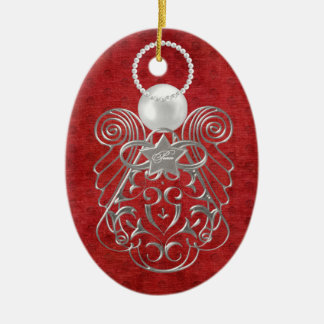 Christmas Angel of Peace on Red Textured Chenille Ceramic Oval Decoration
