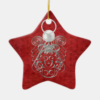 Christmas Angel of Peace on Red Textured Chenille Ceramic Star Decoration