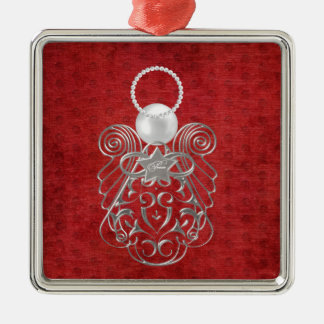 Christmas Angel of Peace on Red Textured Chenille Silver-Colored Square Decoration