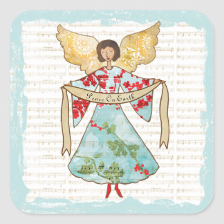 Christmas Angel Personalized Square Sticker