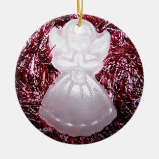 Christmas Angel Round Ceramic Decoration