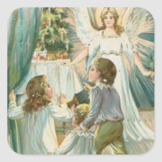 Christmas Angel with Children Square Sticker
