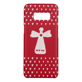 Christmas Angel with hearts on red Case-Mate Samsung Galaxy S8 Case