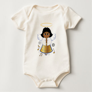 Christmas Angel with Music Notes Baby Bodysuit