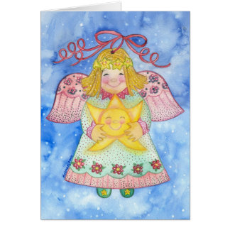 Christmas Angel with Star Greeting Card