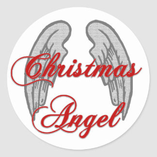 Christmas Angel with Wings on Back Classic Round Sticker