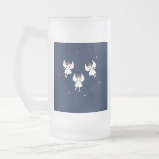 Christmas angels frosted glass beer mug