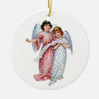 Christmas Angels In pink And Blue Ceramic Ornament