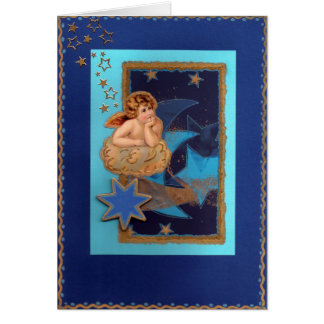 """Christmas angels on cloud with stars "" Card"