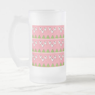 Christmas angels pattern frosted glass beer mug