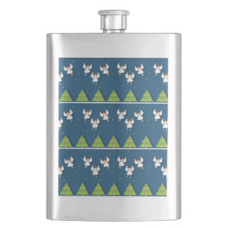Christmas angels pattern hip flask