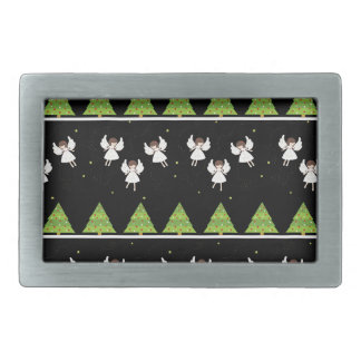 Christmas angels pattern rectangular belt buckle