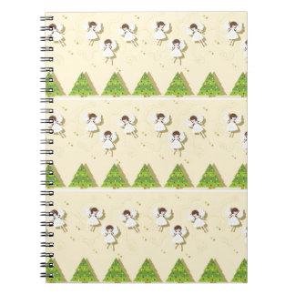 Christmas angels pattern spiral notebook