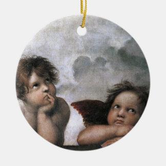 Christmas Angels Raphael Round Ceramic Decoration