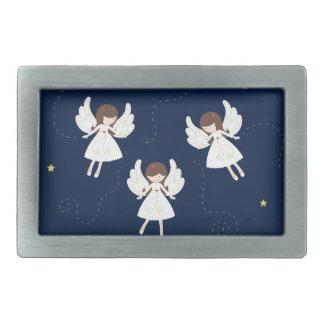 Christmas angels rectangular belt buckle