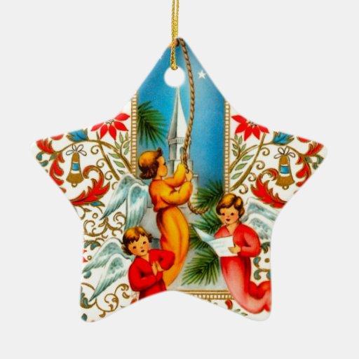Christmas Angels Ringing Gold Bells Christmas Ornaments
