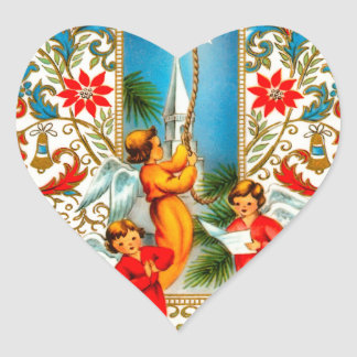 Christmas Angels Ringing Gold Bells Heart Sticker