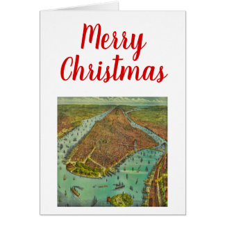 Christmas Antique New York City Map Card