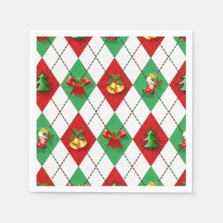 Christmas Argyle Disposable Serviettes