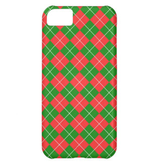 Christmas Argyle - Green, Red and White iPhone 5C Cover