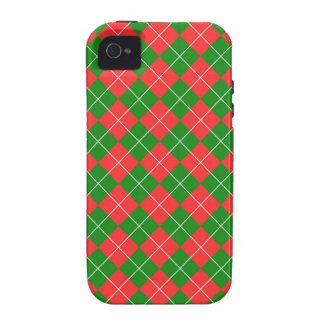 Christmas Argyle - Green, Red and White iPhone 4 Cover