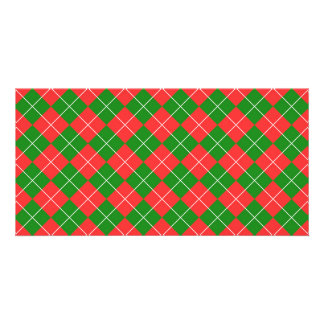 Christmas Argyle - Green, Red and White Personalized Photo Card