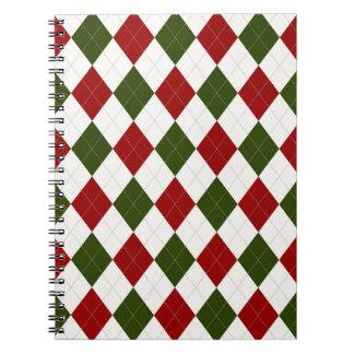 Christmas Argyle pattern Notebooks