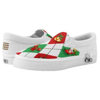 Christmas Argyle Printed Shoes