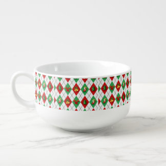 Christmas Argyle Soup Bowl With Handle