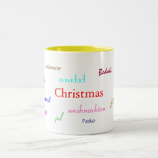 Christmas Around The World In White And Yellow Two-Tone Mug