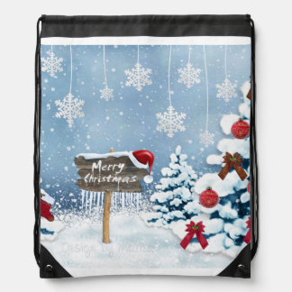 Christmas art - christmas illustrations drawstring bag