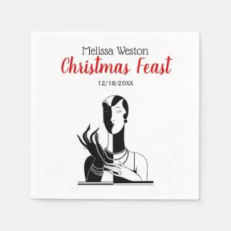 Christmas Art Deco Lady With Pearls Black Transp Disposable Serviette