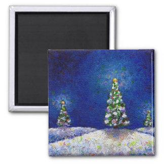 Christmas art fun colorful trees original painting fridge magnet