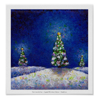 Christmas art fun colorful trees original painting poster