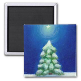 Christmas art holiday card tree snow December 25th Refrigerator Magnets