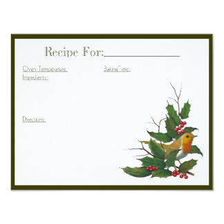 Christmas Art Recipe Card: English Robin, Holly 11 Cm X 14 Cm Invitation Card